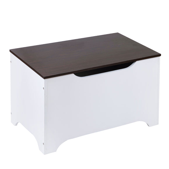 Modern Toy Box - White w/ Espresso