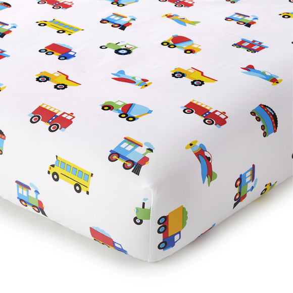 Trains, Planes & Trucks 100% Organic Cotton Flannel Fitted Crib Sheet