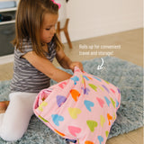 Pink Hearts Plush Nap Mat