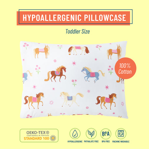 Horses 100% Cotton Hypoallergenic Pillow Case