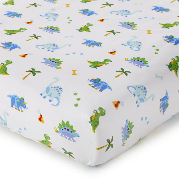 Dinosaur Land 100% Organic Cotton Flannel Fitted Crib Sheet
