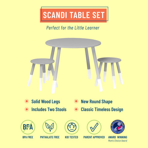 Scandi Table & Chair Set - White/Gray