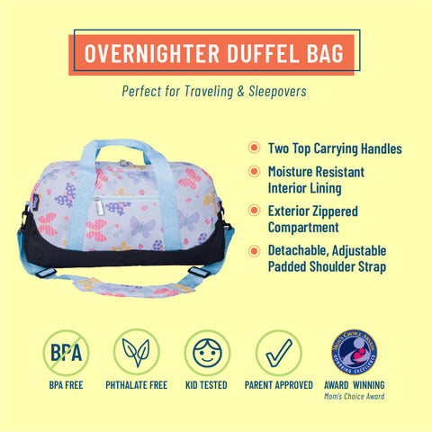 Butterfly Garden Blue Overnighter Duffel Bag
