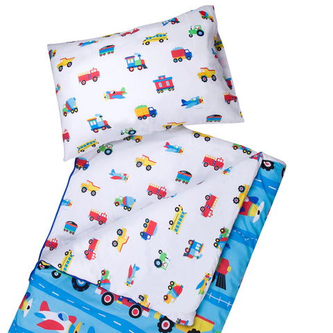 Trains, Planes & Trucks Microfiber Sleeping Bag w/ Pillowcase