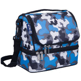 Blue Camo Two Compartment Lunch Bag