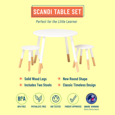 Scandi Table and Chair Set - White/Natural
