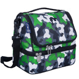 Green Camo Two Compartment Lunch Bag