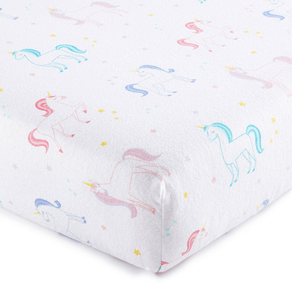 Unicorn 100% Organic Cotton Flannel Fitted Crib Sheet