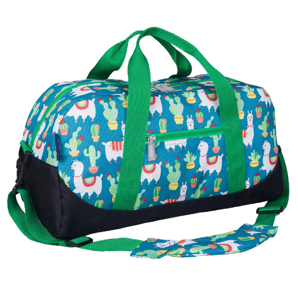 Llamas and Cactus Green Overnighter Duffel Bag