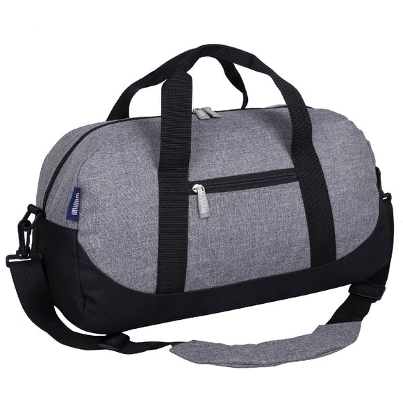 Gray Tweed Overnighter Duffel Bag