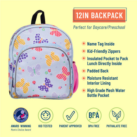 Butterfly Garden Blue 12 Inch Backpack