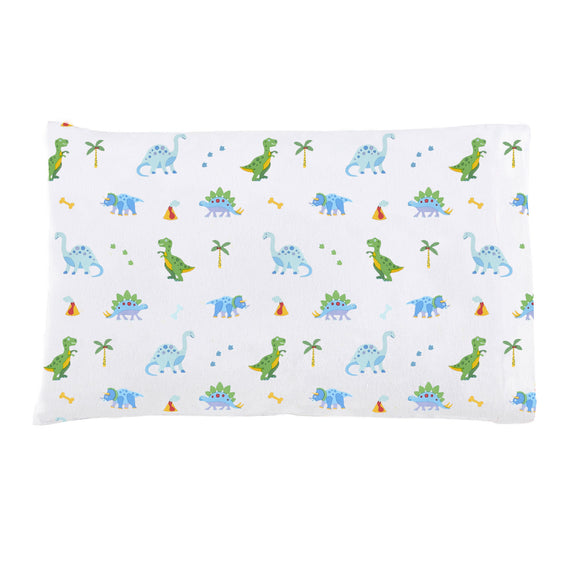 Dinosaur Land 100% Organic Cotton Flannel Pillow Case