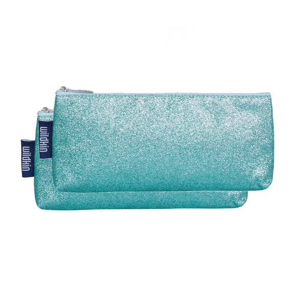 Blue Glitter Pencil Pouches (2 pk)