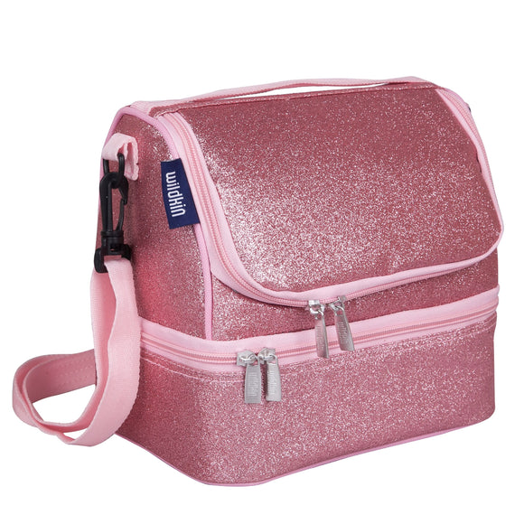 Pink Glitter Two Compartment Lunch Bag