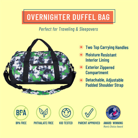 Green Camo Overnighter Duffel Bag