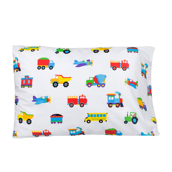 Trains, Planes & Trucks 100% Organic Flannel Cotton Toddler Pillowcase