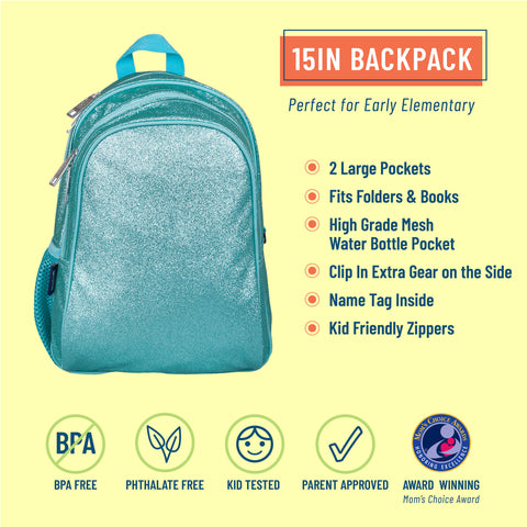 Blue Glitter 15 Inch Backpack