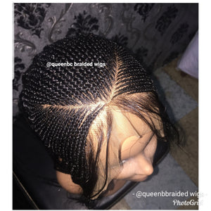 V cut cornrow wig