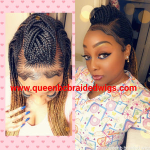 Cornrow middle braids wig