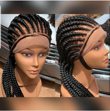 Load image into Gallery viewer, All back 360 lace Cornrow Wig