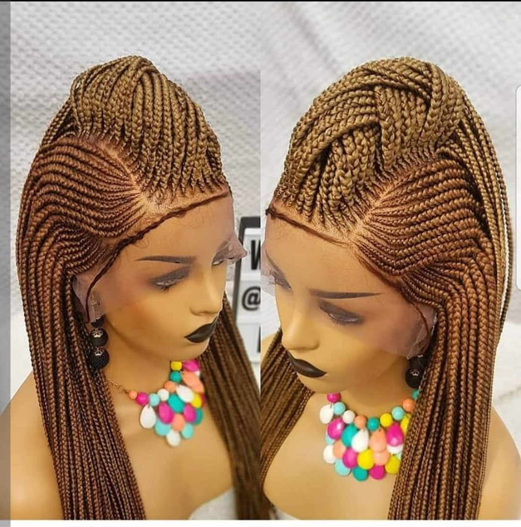 full lace ponytail style 2 Cornrow Wig