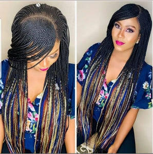 Colorful braided cornrow wig