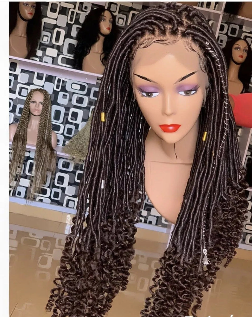 Full lace Goddess faux locs wig