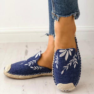 30ec02197f3a Women Fashion Embroidered Classic Canvas Espadrille Flat Slippers Shoes