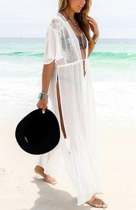 0f3d739be4f Beachsissi Side Slit White Cover Up