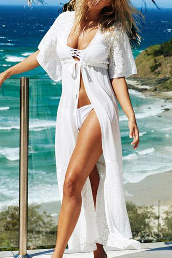 4d4467e37df Beachsissi Short Sleeve Front Tie Cover Up ...