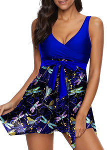 f5030c3049f Bowknot Detail Scoop Back Dragonfly Print Swimdress and Shorts