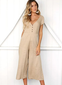 8bd769ff5bc Casual Short Sleeve V Neck Front Buttons Wide Leg Jumpsuit With Pockets