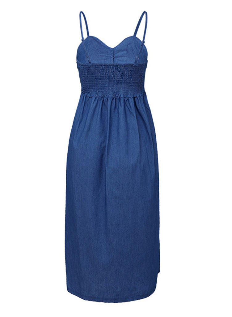 b28f5b45fe1 ... Blue Spaghetti Strap High Waist Button Down Denim Midi Dress With  Pockets ...