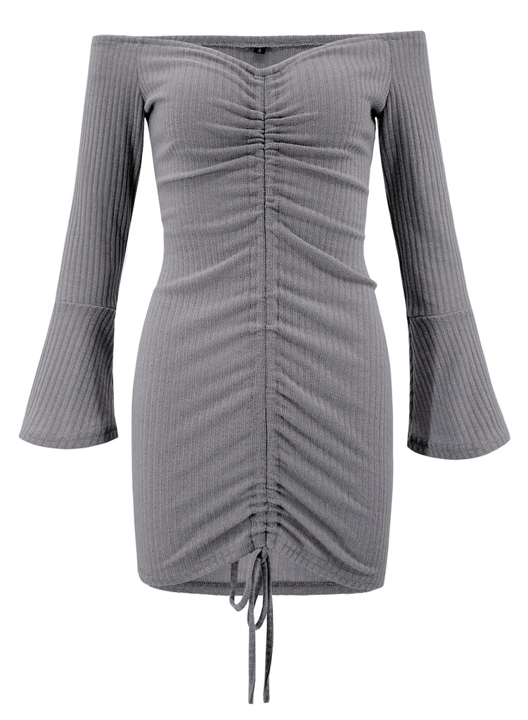 20082009eb42 ... Grey Summer Off Shoulder Flare Sleeve Lace-Up Solid Color Bodycon Dress  ...