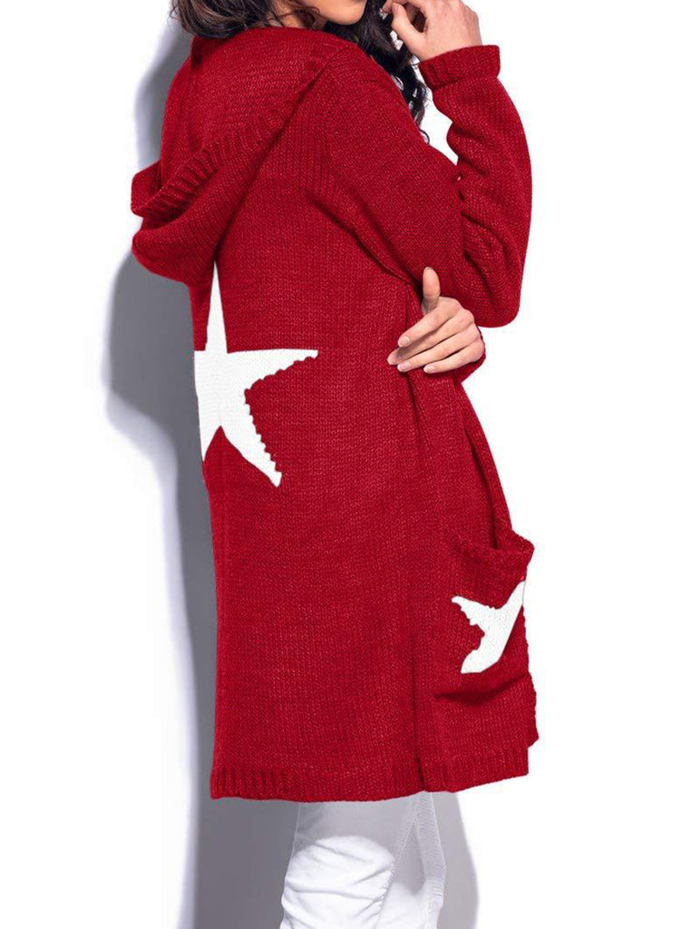 e64930d6f4c1f ... Casual Long Sleeve Star Pattern Open Front Hooded Chunky Cardigan ...