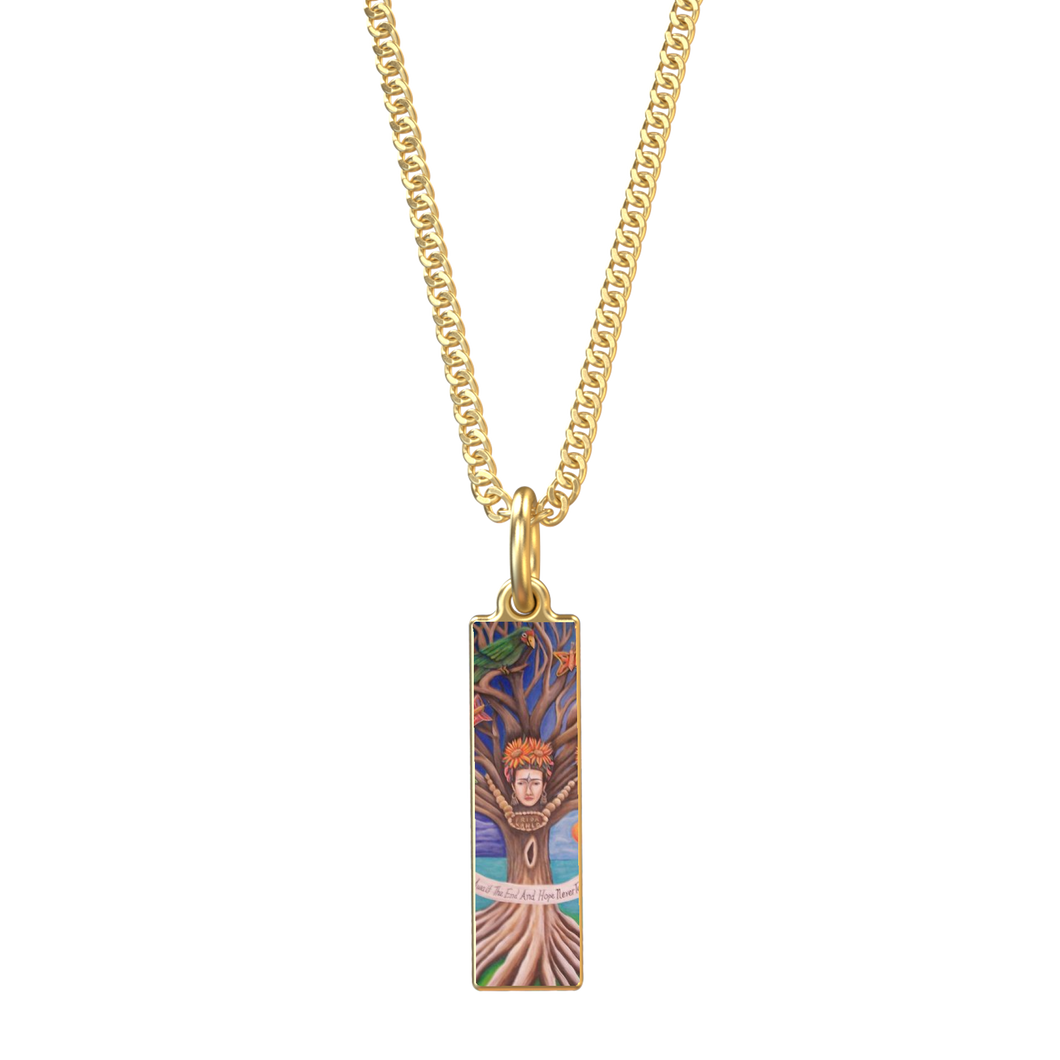 'FRIDA TREE OF LIFE' 18K GOLD RECTANGULAR PENDANT WITH 16