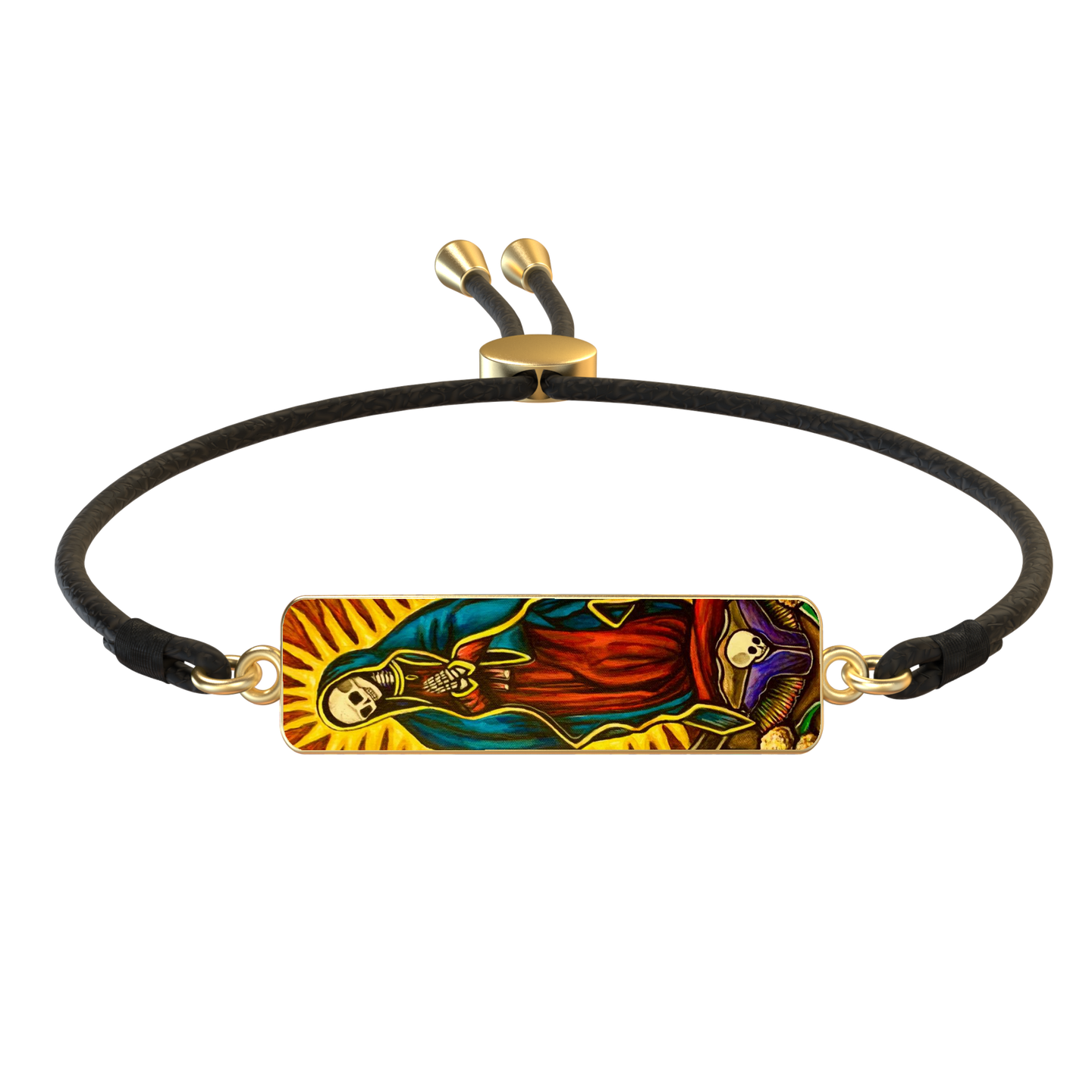 'SANTA MUERTE' GOLD RECTANGLE PENDANT LEATHER SLIDER BRACELET