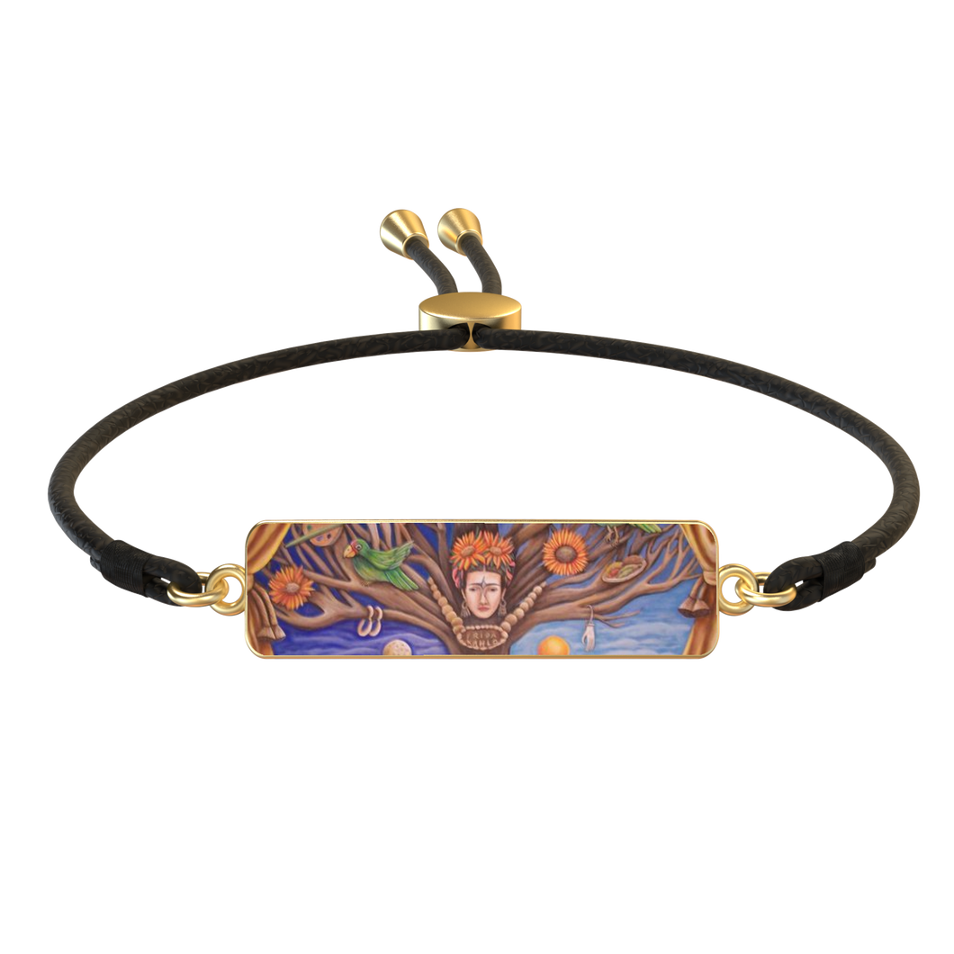 'FRIDA TREE OF LIFE' 18K GOLD RECTANGLE LEATHER SLIDER BRACELET
