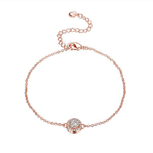 Single Solitare Swarovski Bracelet in 14K Rose Gold