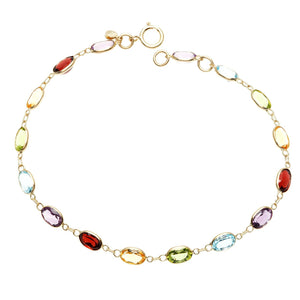 Simulated Multi Gemstone Rainbow Bracelet in 14K Gold