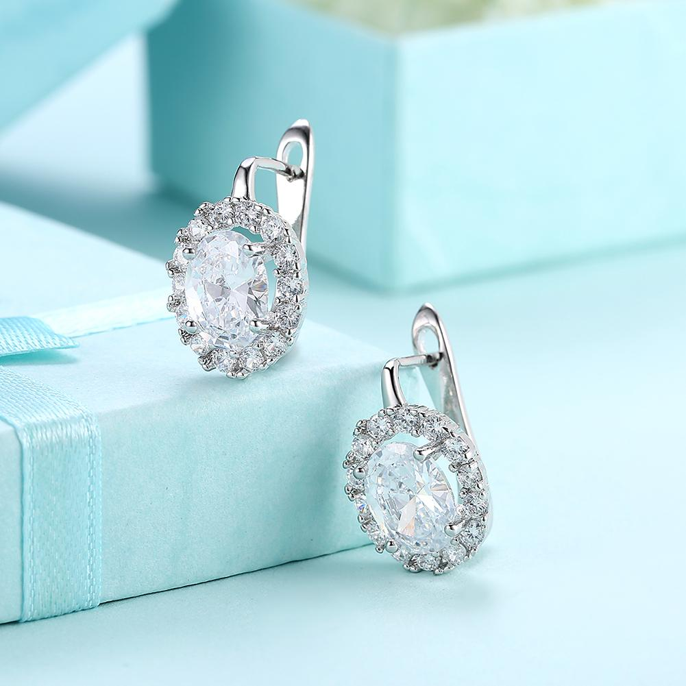 White Swarovski Elements Leverback Earrings in 18K White Gold