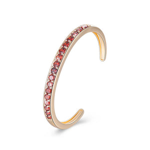 Pav'ed Iced Out Open Bangle in 14K Gold - Red