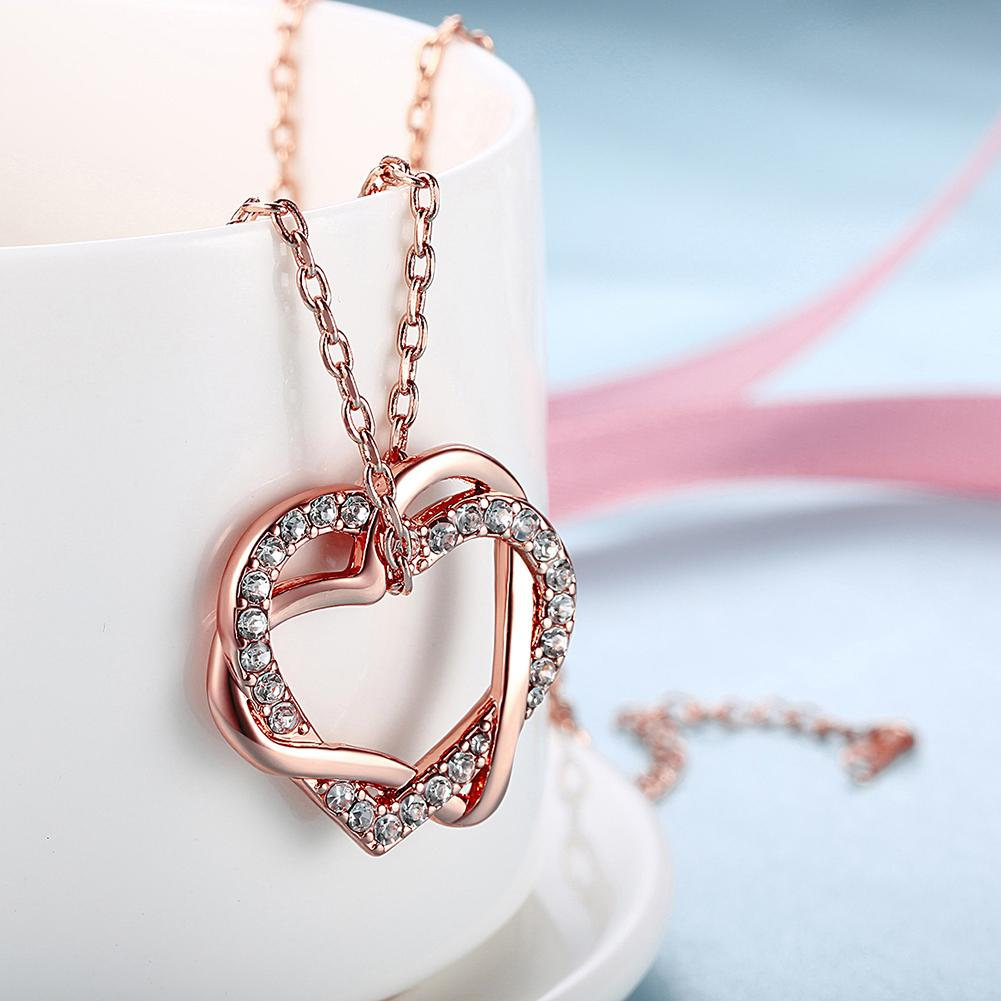 Duo Intertwined Heart Shaped Swarovski Elements Necklace in 14K Rose Gold