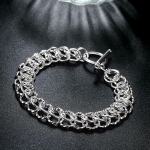 Silver Mesh Cable Toggle Clasp Bracelet