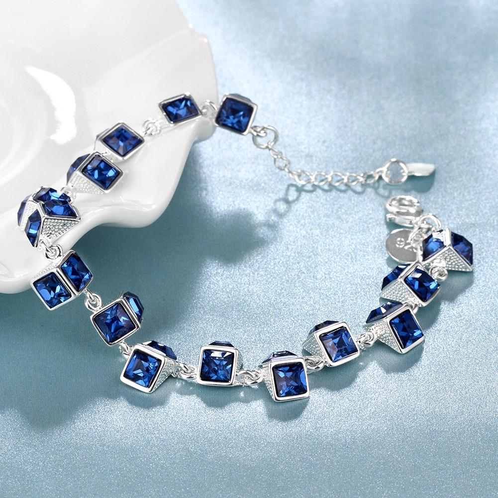 Multi Blue Swarovski Cubed Bracelet in 18K White Gold