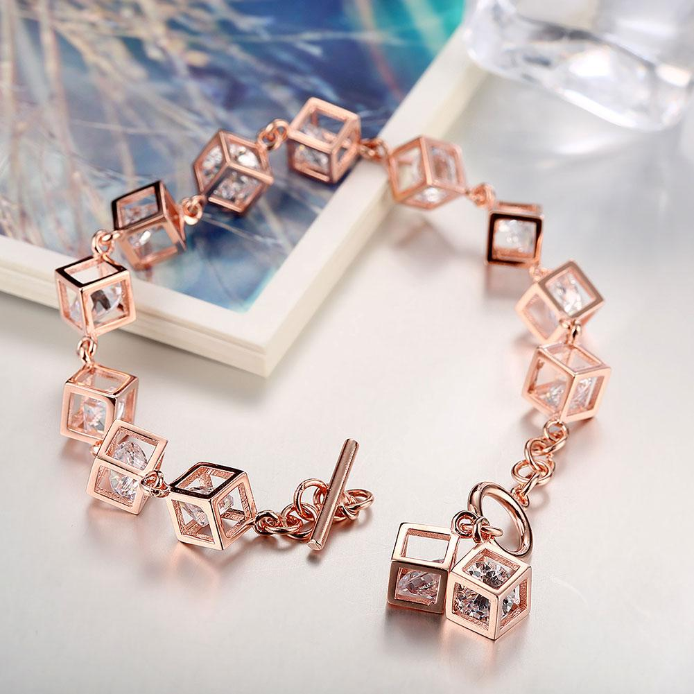 18K Rose Gold over Sterling Silver RUBIX CUBE Bracelet