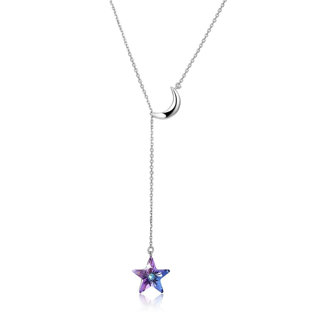 Bermuda Blue Swarovski Crystals Sterling Silver Pave Moon and Star Drop Necklace