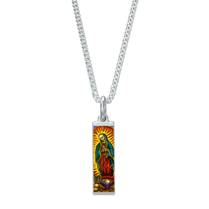 "'SANTA MUERTE'  SILVER LONG RECTANGLE PENDANT KENTON STATION SILVER 16"" CHAIN"