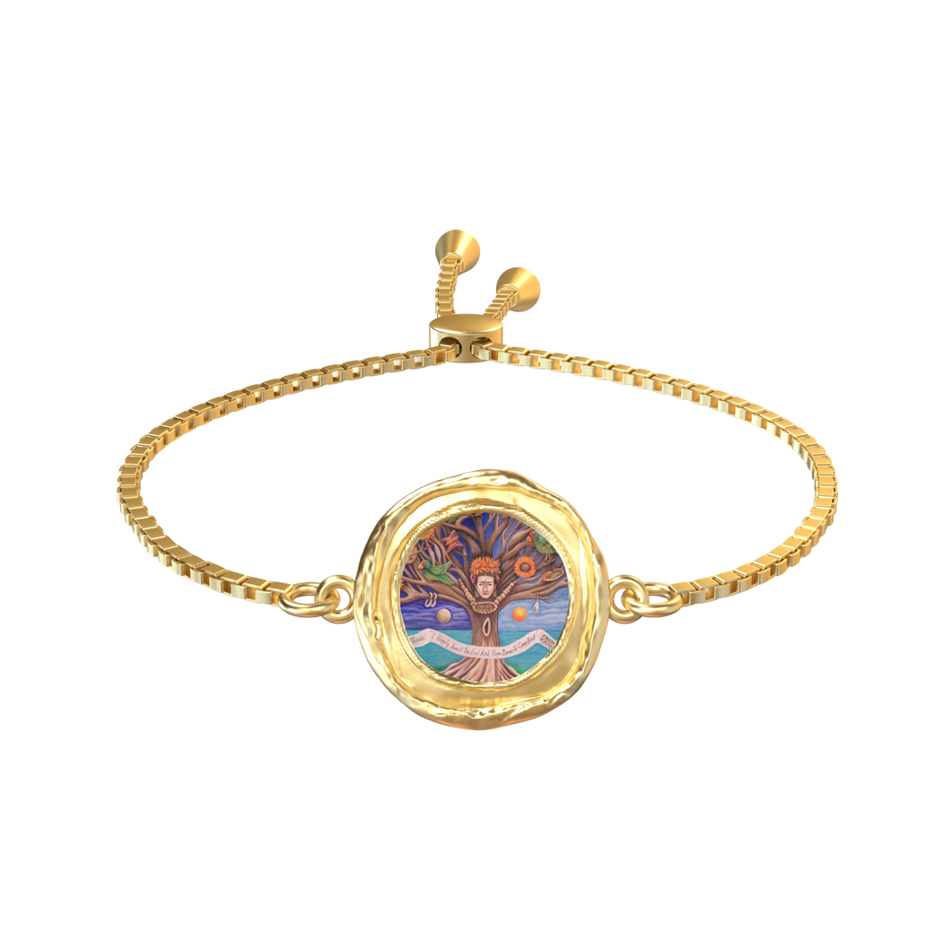 'FRIDA TREE OF LIFE' 18K GOLD ROUND COIN PENDANT SLIDER BRACELET