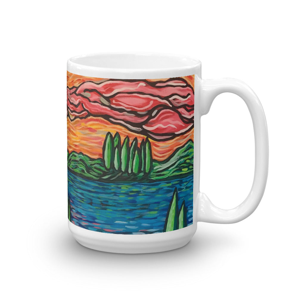 MUG: 15 OZ Landscape painting w colorful strokes of color created b